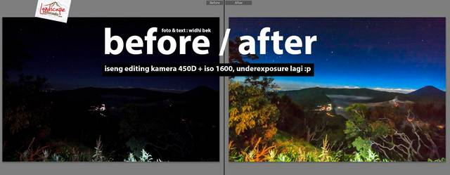 before after editing foto bromo