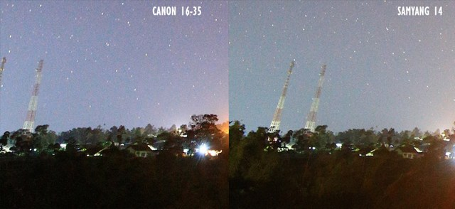foto milkyway canon16 35vs samyang14 1 - Lensa samyang 14 mm vs canon 16-35 untuk memotret milky way