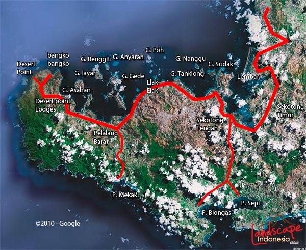peta semenanjung barat lombok - lombok (still) hidden paradise - hari 2 sore