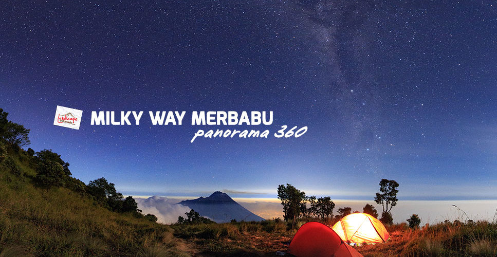 milky way merbabu panorama 360