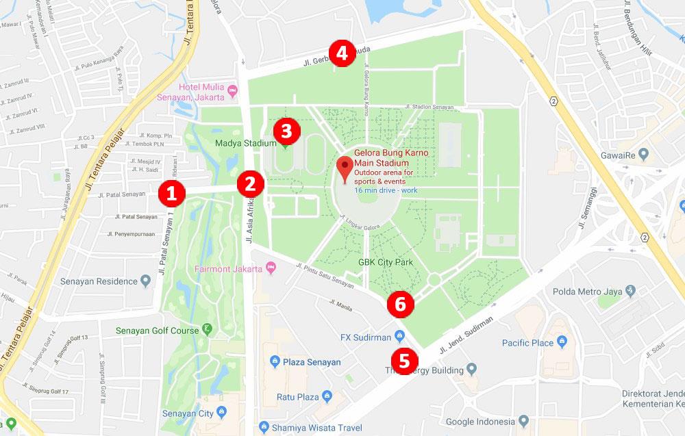 peta GBK - Perjuangan untuk Menonton Penutupan Asian Para Games 2018